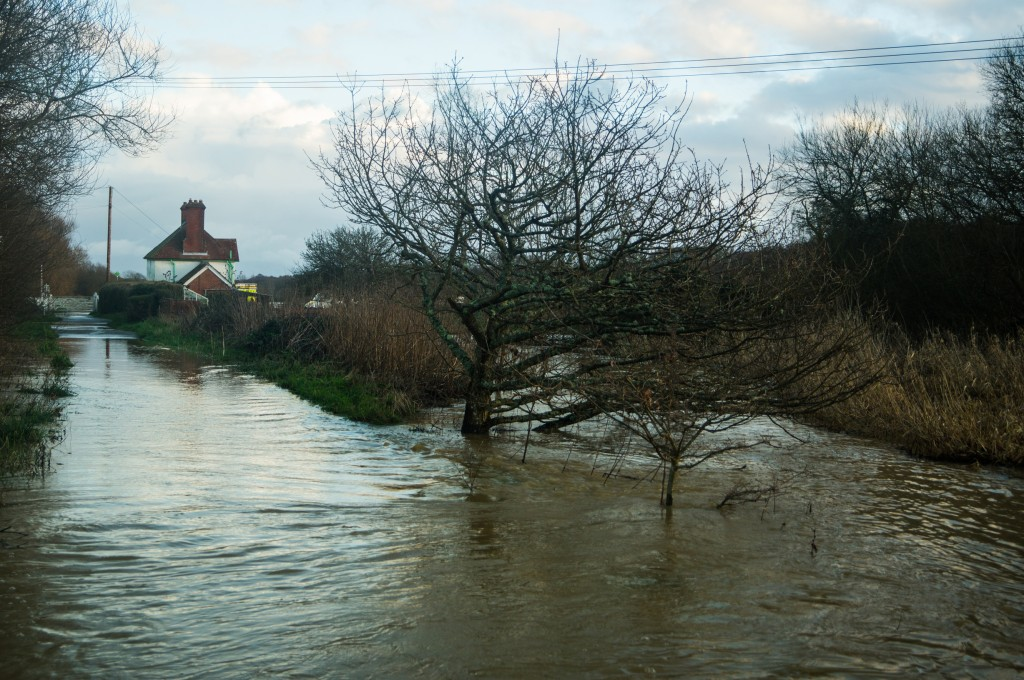 station house from the cycle track at Alverstone during flood - Copy